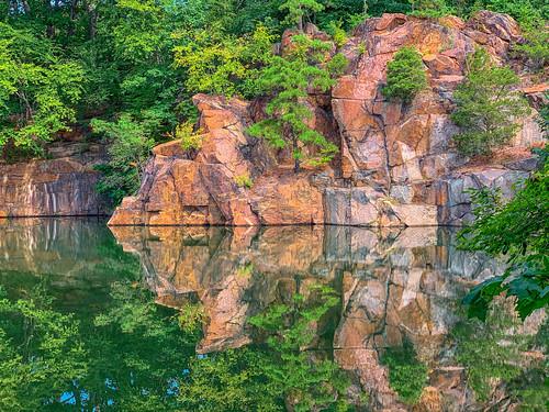 reflections pond trees granite cliffs quarry bigbrooklyn stonycreek branford connecticut landscape