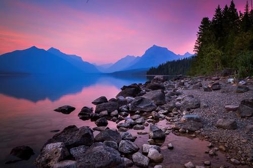 glacier national park montana lake landscape waterscape sunset dusk colorful refelctions