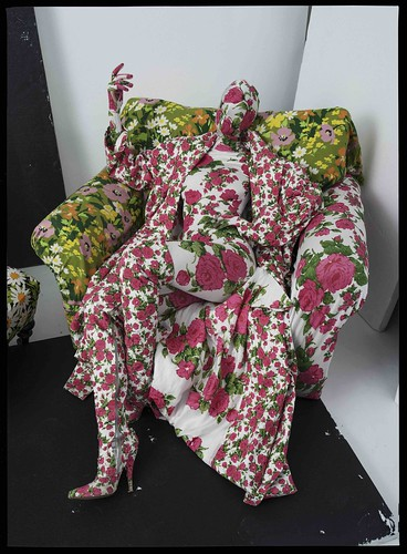 Richard Quinn's, floral chair and living mannequin. London, 2016 © Tim Walker studio