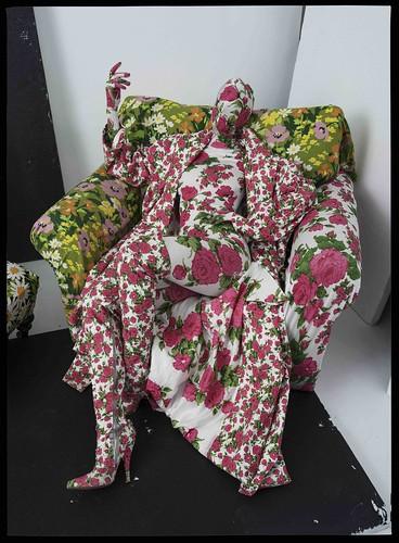 Richard Quinn's, floral chair and living mannequin. London, 2016 © Tim Walker studio