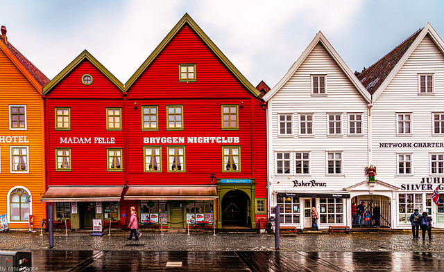 Ancient buildings of Bryggen (the dock) of the old harbor of Bergen, Norway-24a