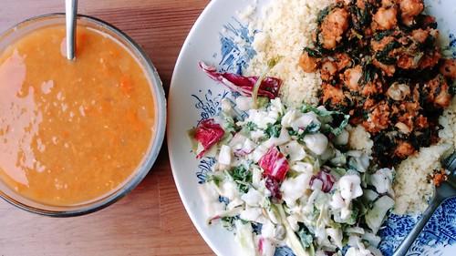 Vegan Dinner: Salad, Soup, Chickpea Entree