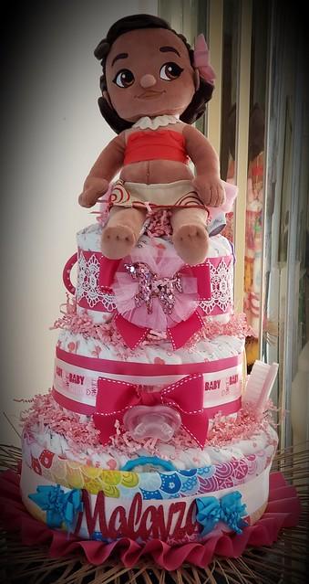 3 Tier Diaper cake Moana plush on top