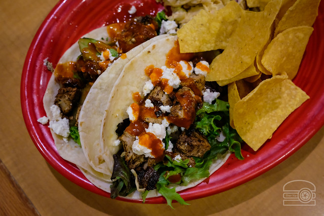 Tuna Tacos w/ Greens, Pear Salsa, Pistachio Guacamole, Feta, Sriracha Chili Garlic Sacue - Black Bear Burritos Evansdale