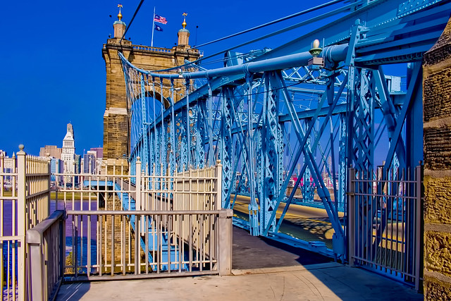 John A. Roebling Suspension Bridge, Cincinnati, Ohio, USA / Built: 1856—1867 / Architect: John A. Roebling / Added to NRHP: May 15, 1975