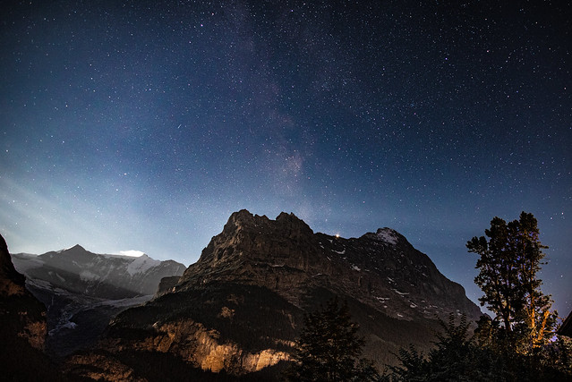 Night sky over the Eiger