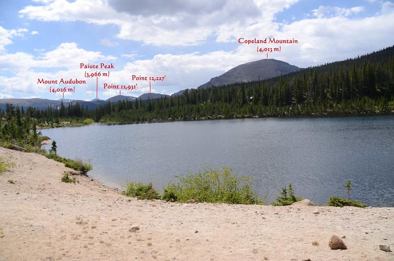Looking southwest at Copeland Mt. et al. from Sandbeach Lake