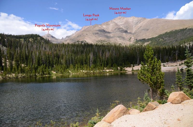 Looking northwest at Longs Peak et al. from Sandbeach Lake