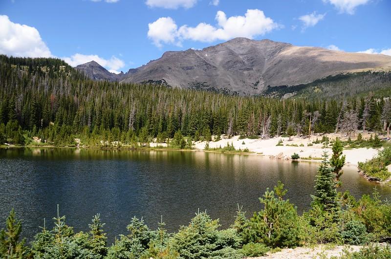 Looking northwest at Longs Peak et al. from Sandbeach Lake (2)