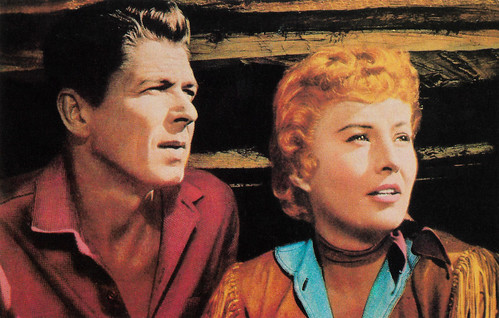 Ronald Reagan and Barbara Stanwyck in Cattle Queen of Montana (1954)