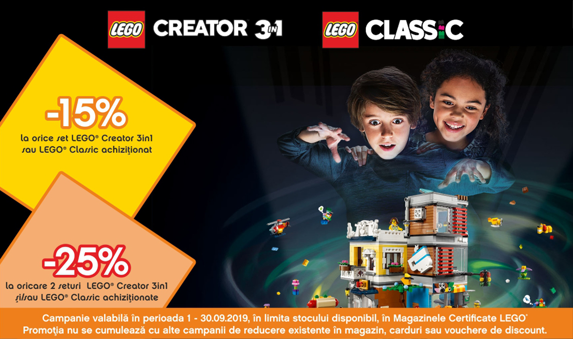 25% reducere la oricare 2 seturi LEGO® Creator 3in1 / Classic