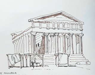 Temple of Concordia, Valley of the Temples, Agrigento, Sicily (#DrawingAugust)