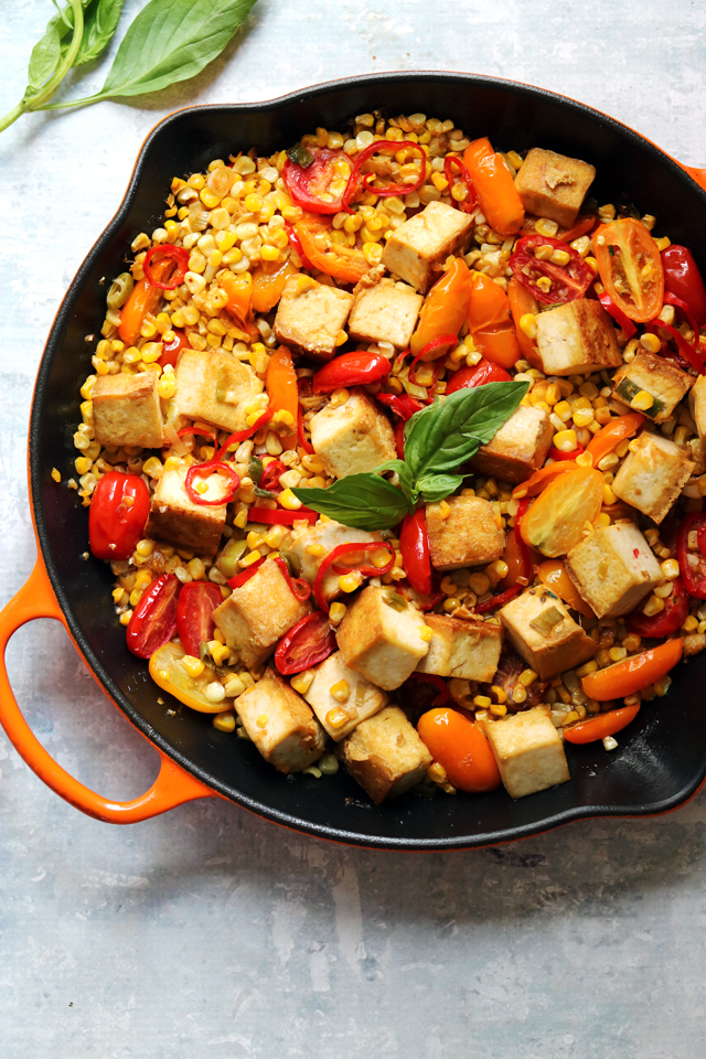 Sweet and Sour Corn with Cherry Tomatoes and Tofu
