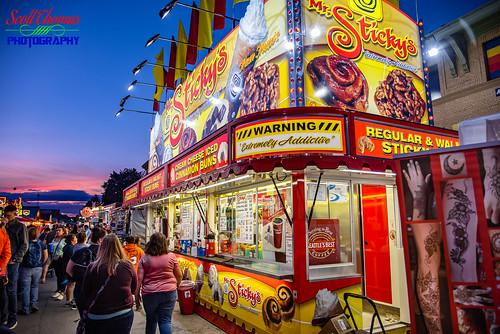 2019 cimmamonbuns dusk fairgrounds food mrstickeys newyork newyorkstatefair restaurantrow snack stickybuns summer sunset syracuse vendor walnut unitedstatesofamerica cinnamonbuns