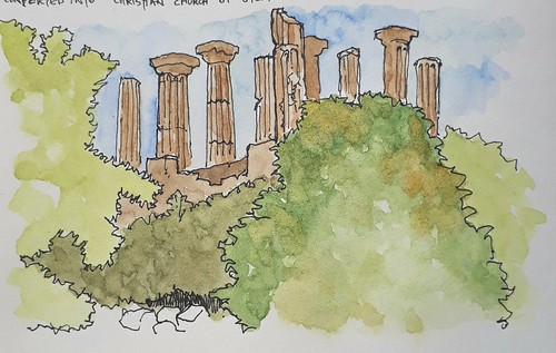 Temple of Heracles, Vally of the Temples, Agrigento, Sicily (#DrawingAugust)