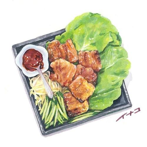 samgyeopsal⠀ 居酒屋でサムギョプサル。豚の三枚肉は美味しいですよね…。生野菜とお肉を一緒に食べる料理は大概好きです。⠀...