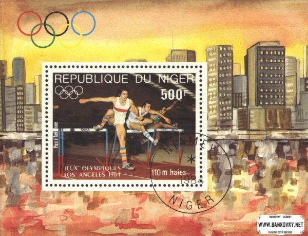 Známky Niger 1984 OH Los Angeles, razítkovaný blok