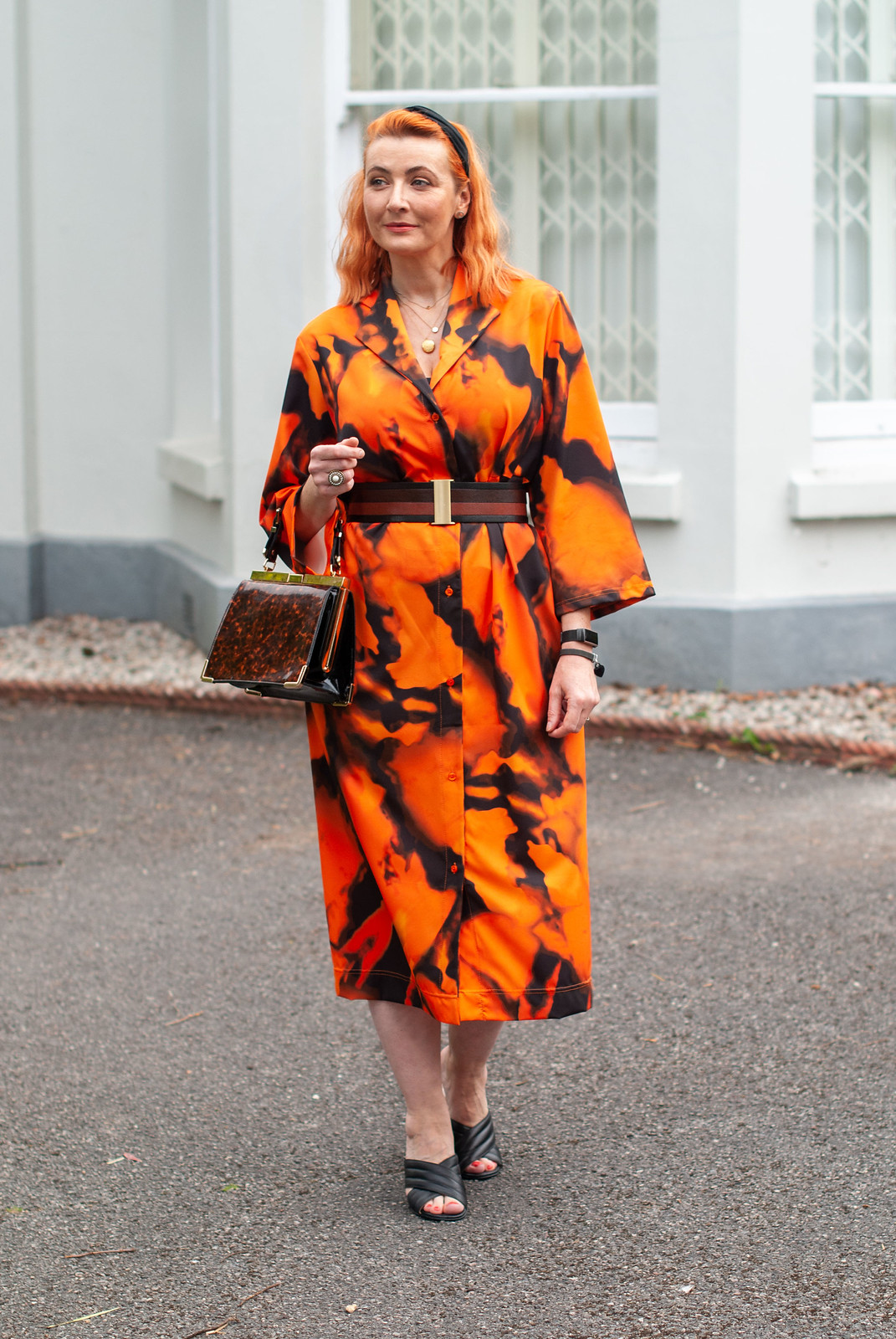 A Slouchy Black and Orange Dress... Nothing to Do With Halloween | Not Dressed As Lamb, over 40 fashion blogger