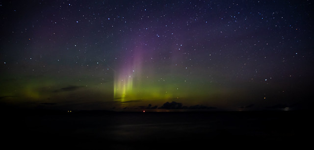 "Aurora Borealis & shooting star over the ""Moray Firth"""
