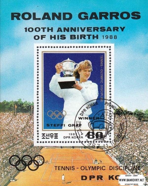Známky KĽDR 1988 Tenis Steffi Graf, razený hárček