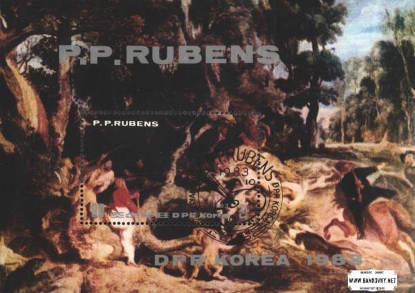 Známky KĽDR Peter Paul Rubens, razítkovaný hárček
