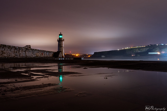 Whitehaven North Shore Lighthouse Night time