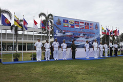 Senior representatives from the U.S. Navy and the maritime forces of ASEAN member states stand together on stage during the opening ceremony for the ASEAN-U.S. Maritime Exercise (AUMX) at Sattahip Naval Base. (U.S. Navy/MC1 Greg Johnson)