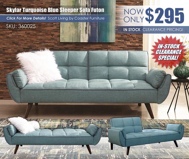 Turquoise Blue Sleeper Sofa Futon_360025_UpdatedClearanceNewest