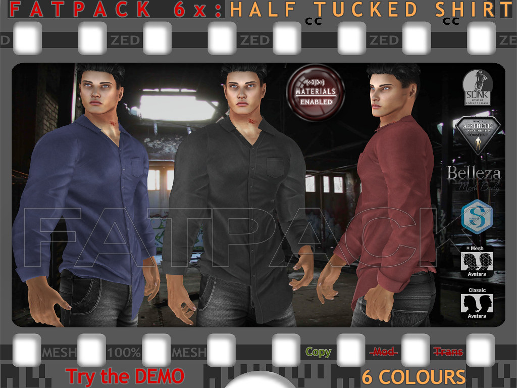 FATPACK 6x ZED MESH Half Tucked Shirts