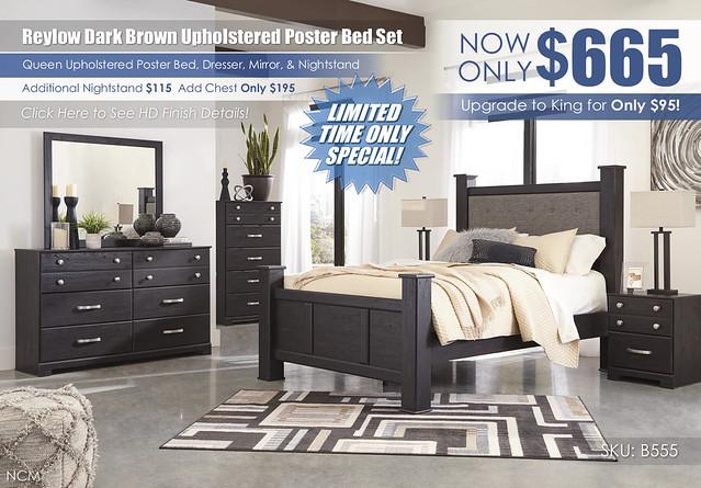 Reylow Dark Brown Poster Upholstered Bedroom Set_B555