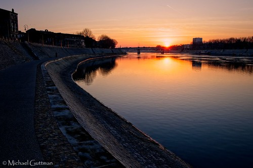 rhoneriver rhone arles france river waterway sunset walkway