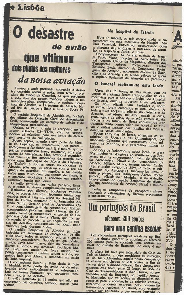 «O desastre de avião que vitimou dois pilotos dos melhores da nossa aviação», Diário de Lisbôa, 28-1-948
