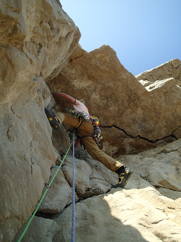 Thu, 2019-08-22 15:04 - Simon gave up leading and climbed back down to the belay ledge shortly after this, before Masa took over and finished it.