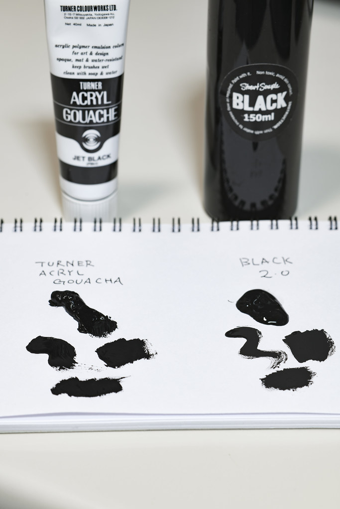 TURNER ACRYL GOUACHE JET BLACK vs BLACK2.0