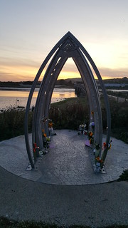 The memorial to those who lost their lives in the Shoreham air crash.