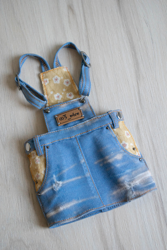 Grunge style oversized denim overalls dress for Minifee, Narae, Slim MSD BJD