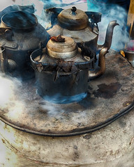 Tea Kettles at a village tea stall