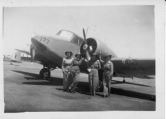 Barbara Bromley, Eunice Cox, Merle Baxendale and Dorothy Phyllis 'Phyl' Medway, in front of an Airspeed Oxford