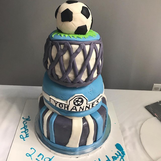 Three Tier Soccer Ball Cake by Carly's Tasty Creations