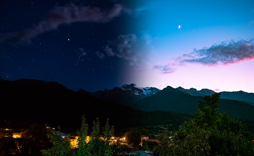 mountain land night day sunset moon stars galaxy sky astro astrophotography hiking trees blue red green svaneti georgia landscape world nature