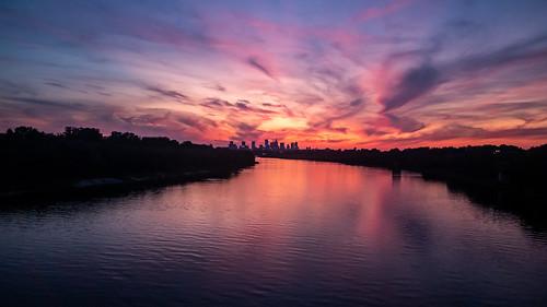 warsaw warszawa wisła vistula mazovia mazowsze polska poland sunset sun cloud sky river water reflection