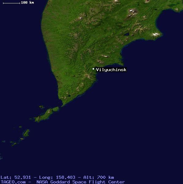 Mapa de Vilyuchinsky en Kamchatka (Rusia)