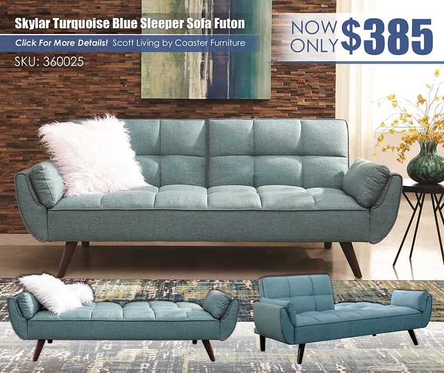 Turquoise Blue Sleeper Sofa Futon_360025_Update
