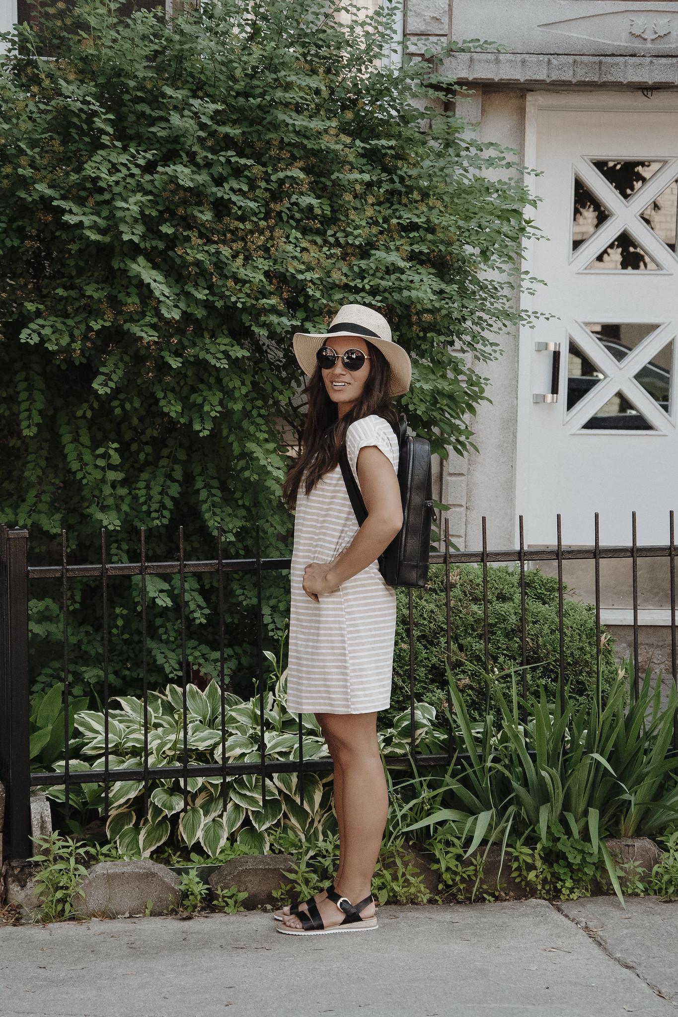 camille dg chapeau lunettes soleil robe lignée