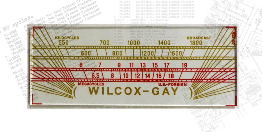 Mostrador de sintonia dum aparelho Wilcox-Gay Model A54, 1939