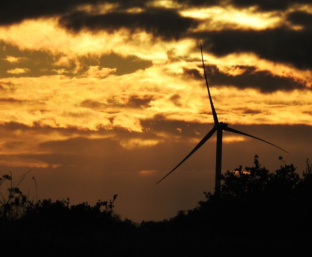 Silhouetted Turbine and Golden Sunset