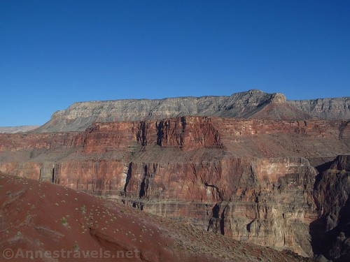 Red hills; we're almost back to the top of the Lava Falls Route in Grand Canyon National Park, Arizona
