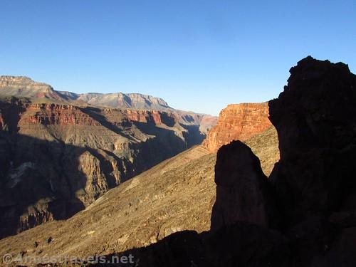 Shadows & sunrise over the Grand Canyon on the Lava Falls Trail, Arizona