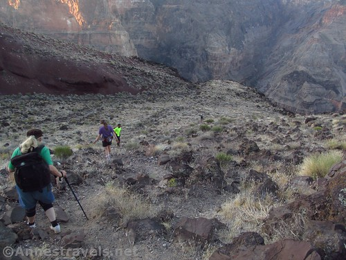 Hiking down the Lava Falls Route in Grand Canyon National Park, Arizona