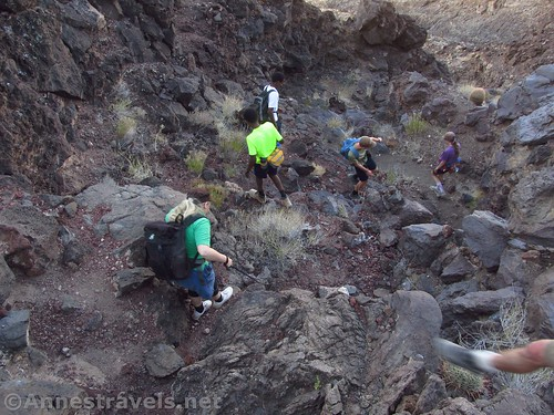Scrambling down dryfalls where we have no right to be... on the Lava Falls Route in Grand Canyon National Park, Arizona